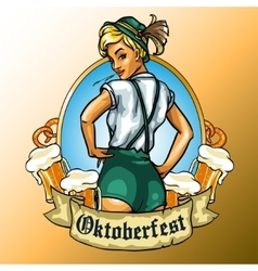 Pretty bavarian girl label vector