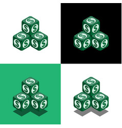 pyramid of the cubes with dollar logo in isometric vector image vector image