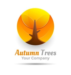 Round autumn trees logo design template for your vector