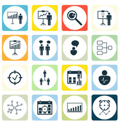 Set of 16 authority icons includes approved vector