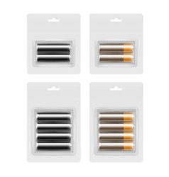 set of alkaline aa batteries in blister packed vector image