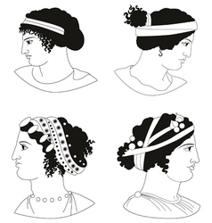 Set of images of ancient greek women heads vector