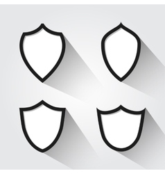 set of modern black and white shields vector image vector image