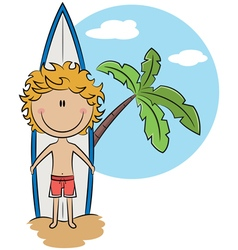 Surfer boy with surfboard near the palm tree vector image