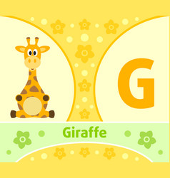 The english alphabet with giraffe vector