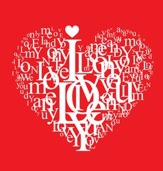 typography heart vector image vector image