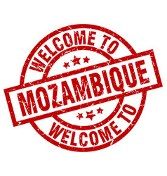 Welcome to mozambique red stamp vector