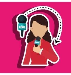 Woman journalist news microphone vector