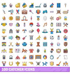 100 catcher icons set cartoon style vector