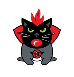 Halloween crazy black cat cartoon vector