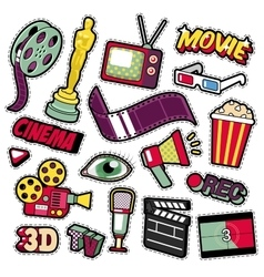 Cinema film television patches badges stickers vector