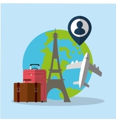 Travel world plane luggage paris pin map vector