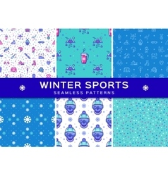 Set winter sport seamless patterns holiday vector