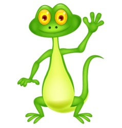 Cute green lizard cartoon waving hand vector