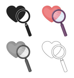 Searching a love icon in cartoon style isolated on vector
