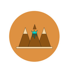 In flat design of volcano vector
