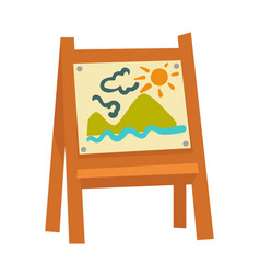 Wooden easel with attached childish drawing vector
