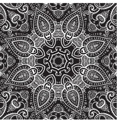 Lace background white on black mandala vector