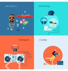Rap music icons set flat vector