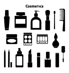 Cosmetic silhouettes set vector