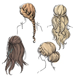 Set of different hairstyles vector