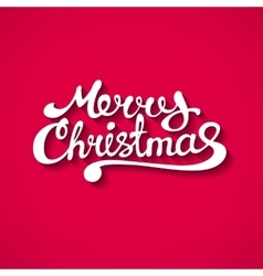 Flat style merry christmas text with shadow vector
