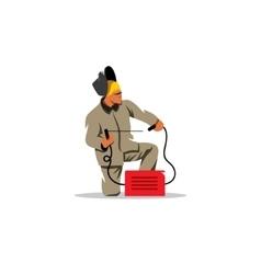 Welder worker working using welding torch vector image