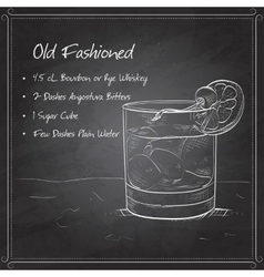 Old fashioned cocktail on black board vector