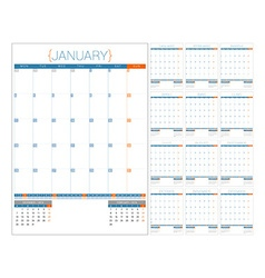 Calendar planner 2016 design template set of 12 vector