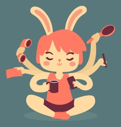 Cartoon bunny multitasking vector