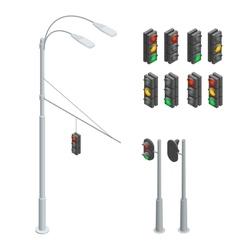 Traffic light Traffic light icons set Traffic vector image