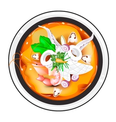 Tom yum or thai spicy and sour soup with squid vector