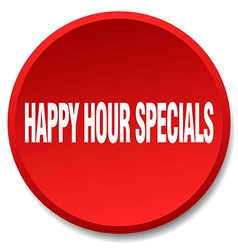 Happy hour specials red round flat isolated push vector