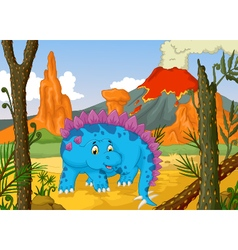 funny stegosaurus cartoon with volcano landscape b vector image