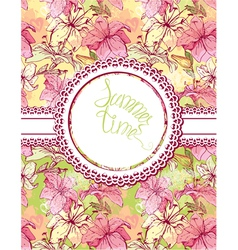Card with hand drawn flowers - tiger lilly Floral vector image