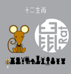 Chinese zodiac sign rat vector