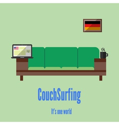 Couch surfing travel all over the world for free vector