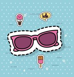 Cute sunglasses fashion kawaii ice cream vector