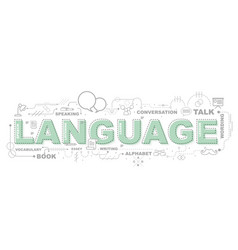 Design concept of word language website banner vector
