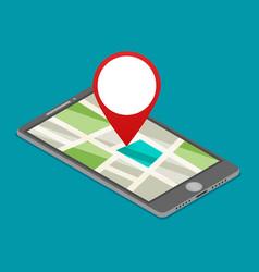 flat gps navigation on phone vector image vector image
