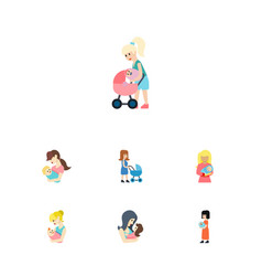 flat icon mam set of perambulator parent kid and vector image