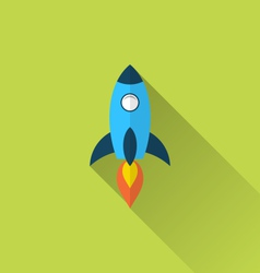 Flat icon of rocket with long shadow style vector