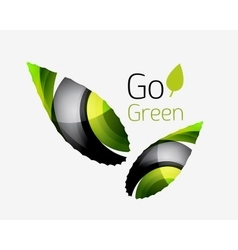 Go green abstract nature logo vector image vector image