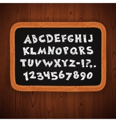 Hand drawn chalked letters and numbers on vector