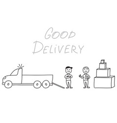 Hand drawn delivery men with truck and boxes vector