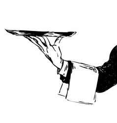 Hand sketch hand waiter with a tray vector