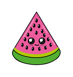 Kawaii cute happy wotermelon slice fruit vector
