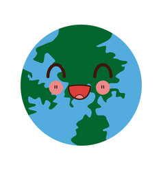 Kawaii globe world earth map geography icon vector