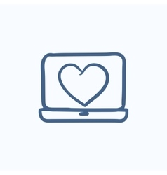Laptop with heart symbol on screen sketch icon vector image vector image