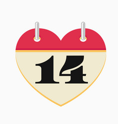 loose-leaf valentines day calendar icon vector image vector image